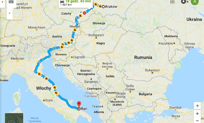 Apulia samochodem - mapa trasy