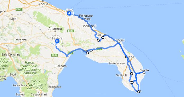 Zwiedzanie Apulii samochodem - trasa Apulia